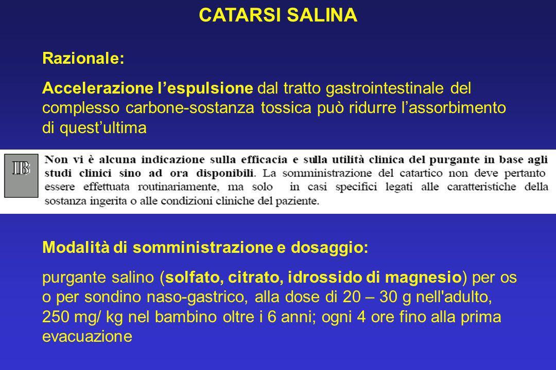 CATARSI SALINA Razionale: Accelerazione lespulsione dal tratto gastrointestinale del complesso carbone-sostanza tossica può ridurre lassorbimento di q