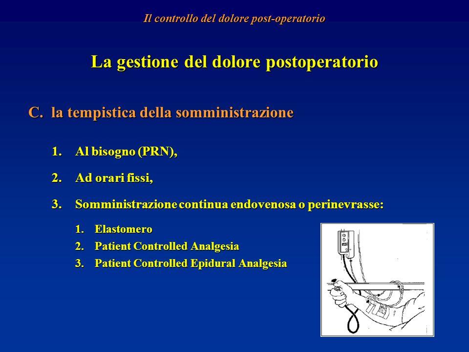 La gestione del dolore postoperatorio C. la tempistica della somministrazione 1.Al bisogno (PRN), 2.Ad orari fissi, 3.Somministrazione continua endove