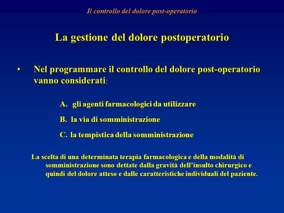 La gestione del dolore postoperatorio Nel programmare il controllo del dolore post-operatorio vanno consideratiNel programmare il controllo del dolore