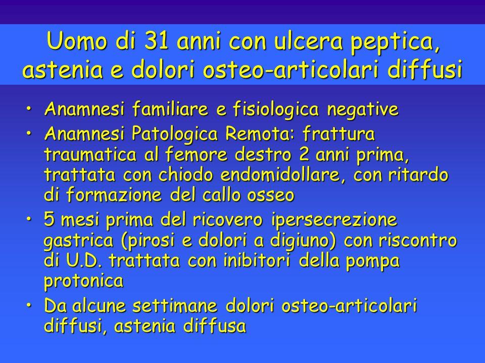 Ritardo di formazione del callo osseoRitardo di formazione del callo osseo Ulcera PepticaUlcera Peptica AsteniaAstenia Dolori osteo-articolariDolori osteo-articolari Uomo di 31 anni con ulcera peptica, astenia e dolori osteo-articolari diffusi Cosa vi suggerisce lassociazione