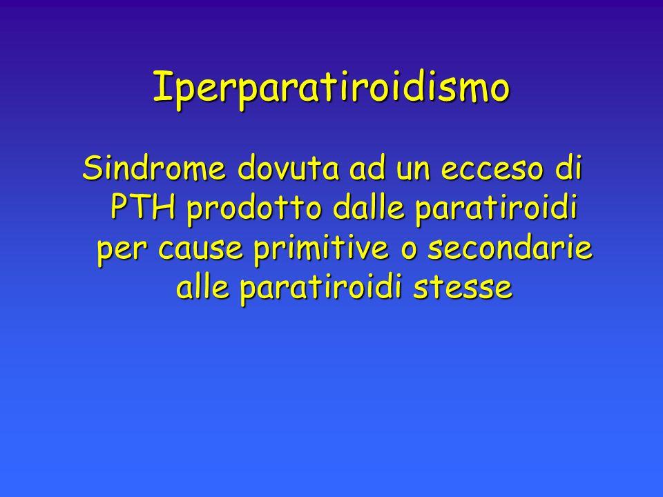 Iperparatiroidismo Sindrome dovuta ad un ecceso di PTH prodotto dalle paratiroidi per cause primitive o secondarie alle paratiroidi stesse