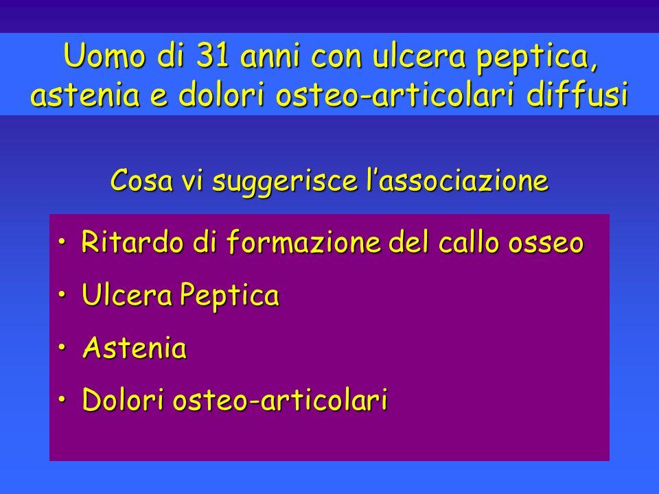 Ritardo di formazione del callo osseoRitardo di formazione del callo osseo Ulcera PepticaUlcera Peptica AsteniaAstenia Dolori osteo-articolariDolori o