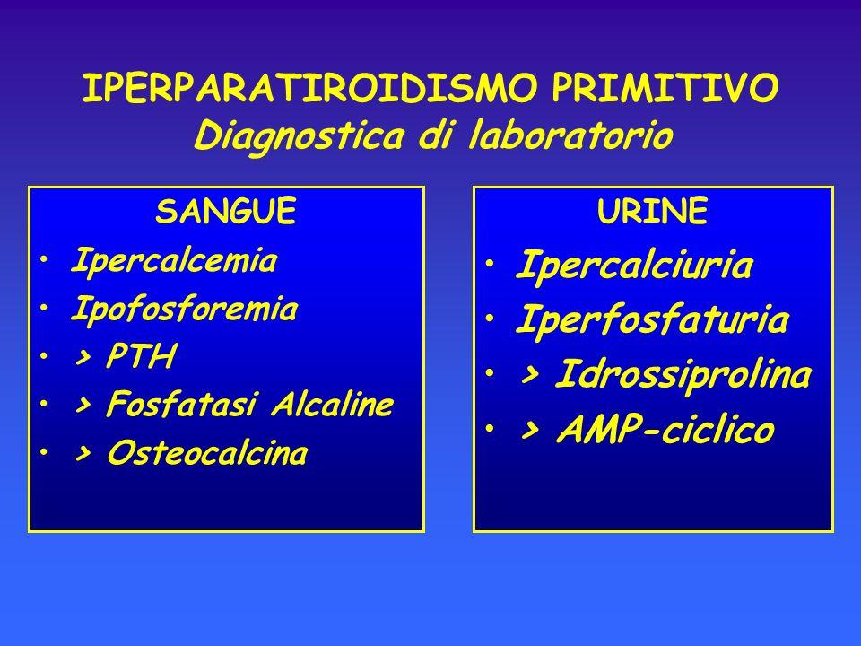 IPERPARATIROIDISMO PRIMITIVO Diagnostica di laboratorio SANGUE Ipercalcemia Ipofosforemia > PTH > Fosfatasi Alcaline > Osteocalcina URINE Ipercalciuri