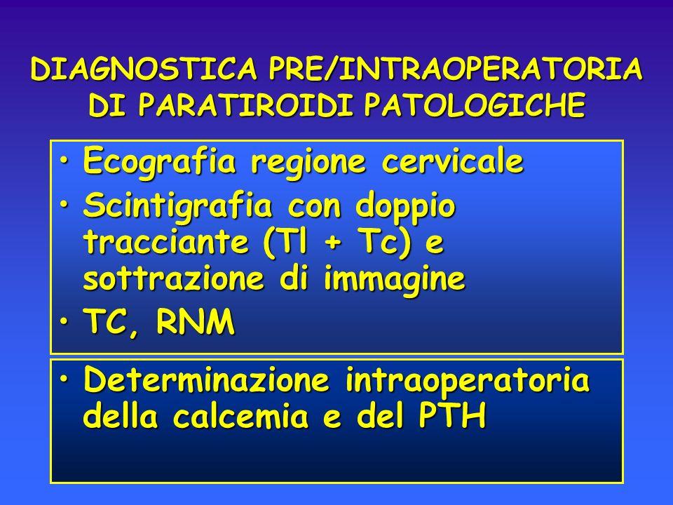DIAGNOSTICA PRE/INTRAOPERATORIA DI PARATIROIDI PATOLOGICHE Ecografia regione cervicaleEcografia regione cervicale Scintigrafia con doppio tracciante (