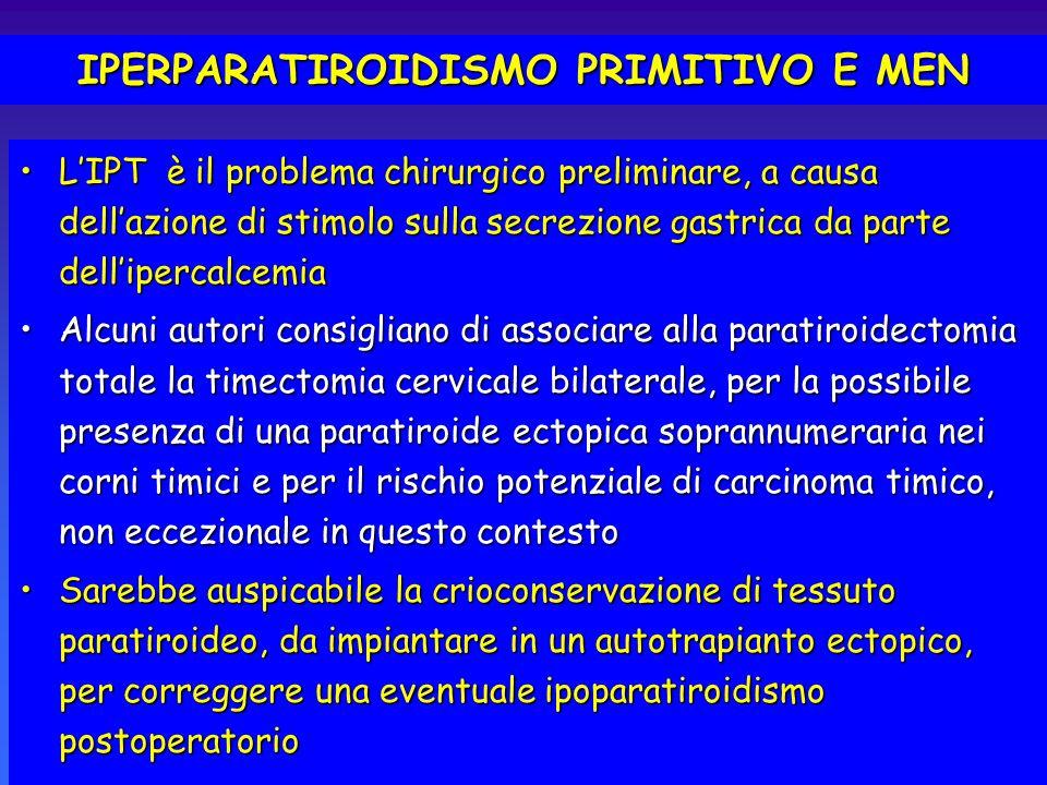 IPERPARATIROIDISMO PRIMITIVO E MEN LIPT è il problema chirurgico preliminare, a causa dellazione di stimolo sulla secrezione gastrica da parte dellipe