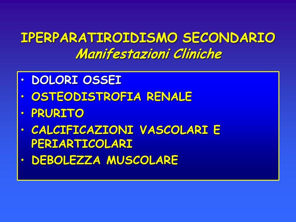 DOLORI OSSEIDOLORI OSSEI OSTEODISTROFIA RENALEOSTEODISTROFIA RENALE PRURITOPRURITO CALCIFICAZIONI VASCOLARI E PERIARTICOLARICALCIFICAZIONI VASCOLARI E