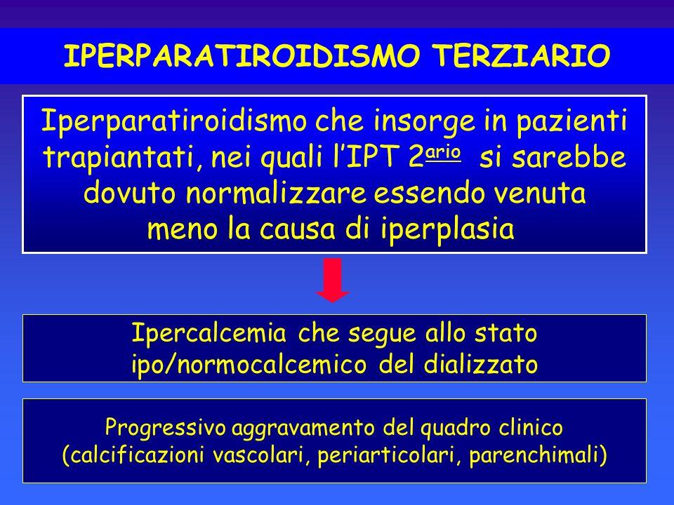 IPERPARATIROIDISMO TERZIARIO Ipercalcemia che segue allo stato ipo/normocalcemico del dializzato Progressivo aggravamento del quadro clinico (calcific