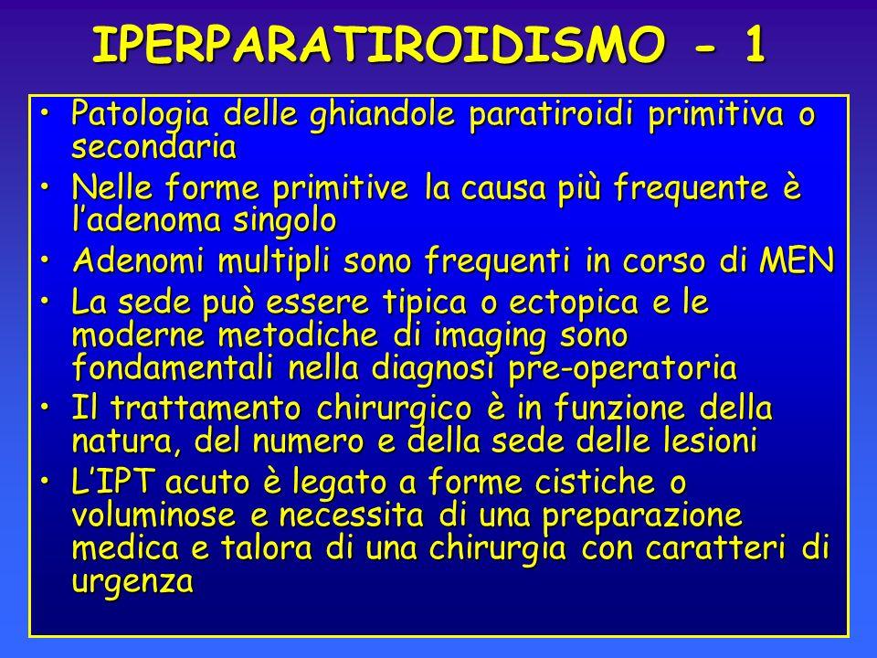 IPERPARATIROIDISMO - 1 Patologia delle ghiandole paratiroidi primitiva o secondariaPatologia delle ghiandole paratiroidi primitiva o secondaria Nelle