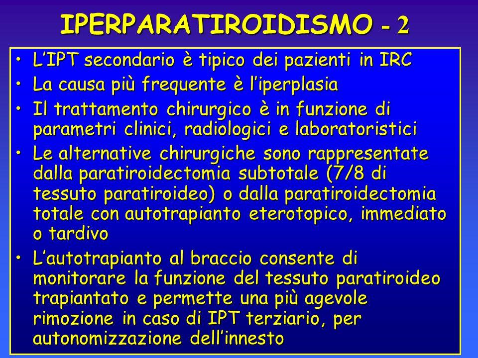 IPERPARATIROIDISMO - 2 LIPT secondario è tipico dei pazienti in IRCLIPT secondario è tipico dei pazienti in IRC La causa più frequente è liperplasiaLa