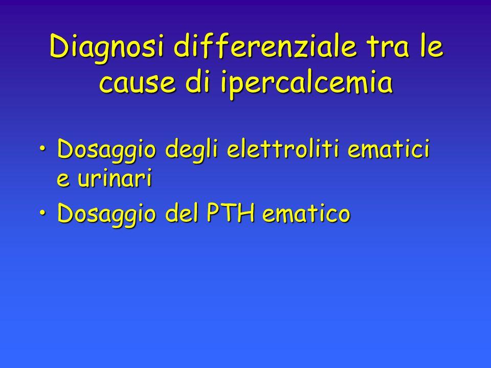 IPERPARATIROIDISMO PRIMITIVO Diagnostica di laboratorio SANGUE Calcemia Fosforemia PTH Fosfatasi Alcaline Osteocalcina URINE Calciuria Fosfaturia Idrossiprolina AMP-ciclico