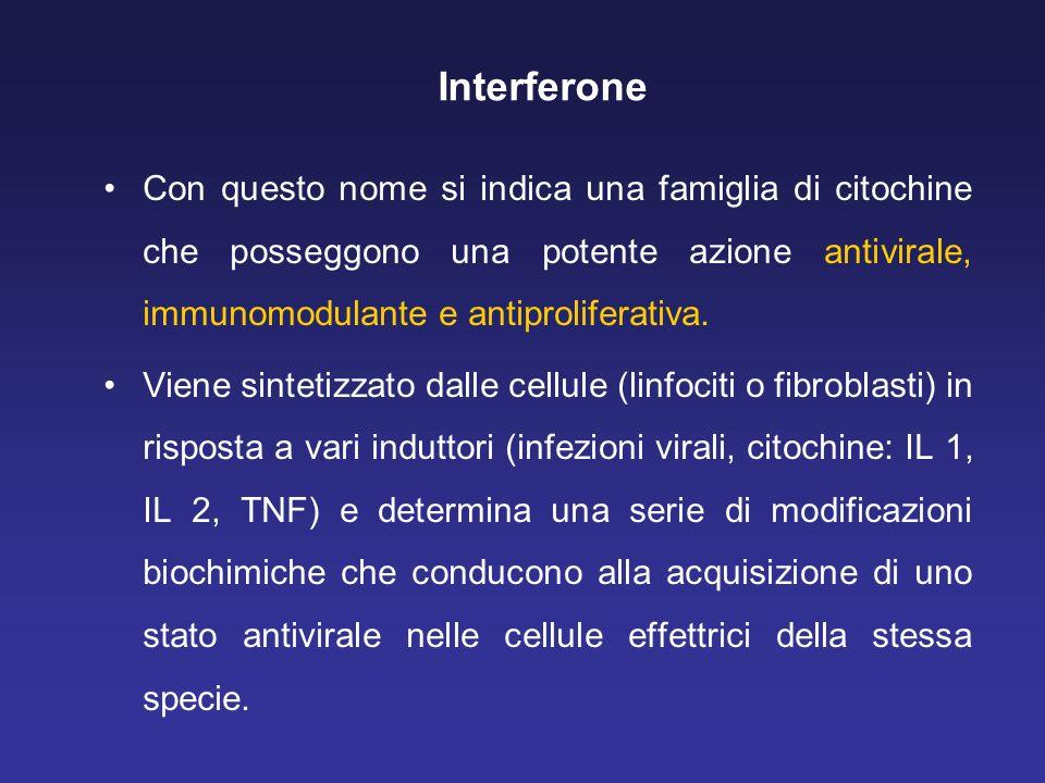 Interferone Con questo nome si indica una famiglia di citochine che posseggono una potente azione antivirale, immunomodulante e antiproliferativa. Vie