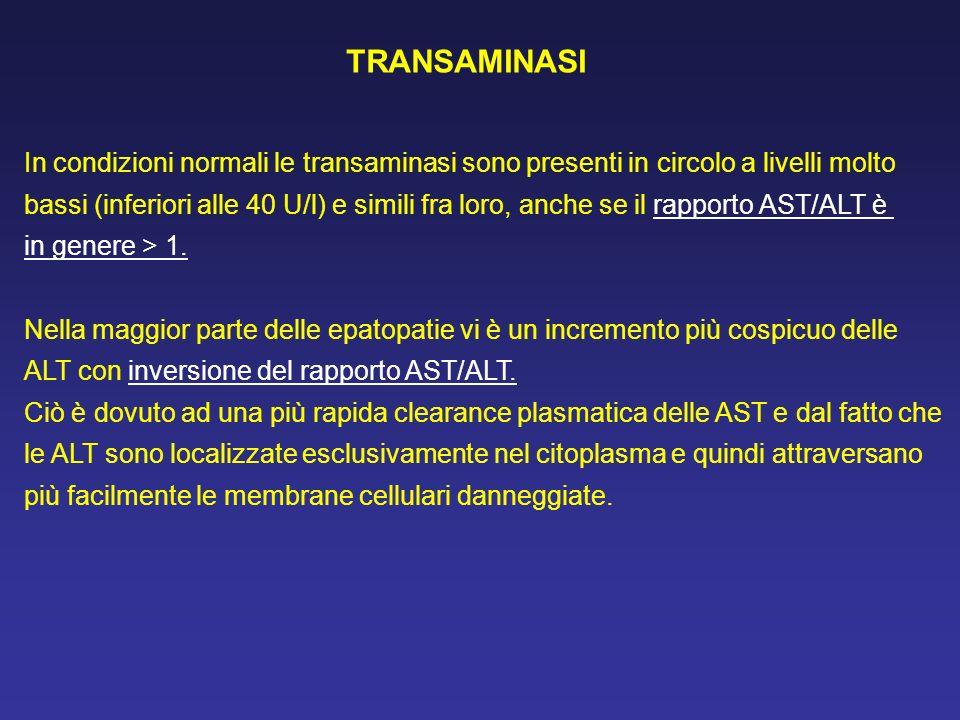 In condizioni normali le transaminasi sono presenti in circolo a livelli molto bassi (inferiori alle 40 U/l) e simili fra loro, anche se il rapporto A