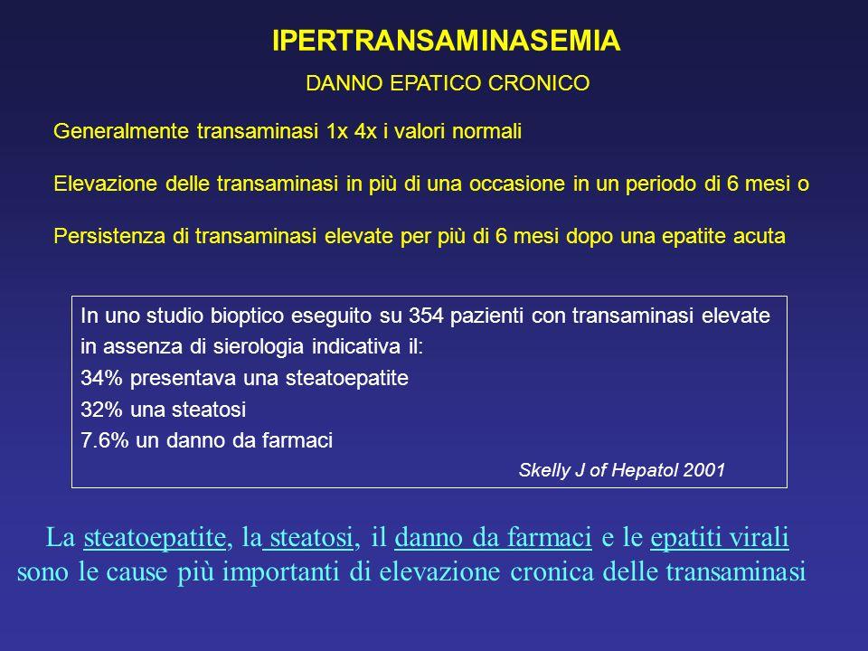 IPERTRANSAMINASEMIA DANNO EPATICO CRONICO Generalmente transaminasi 1x 4x i valori normali Elevazione delle transaminasi in più di una occasione in un