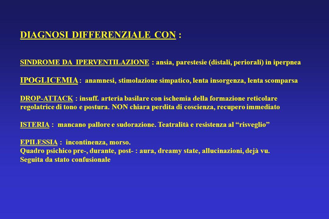 DIAGNOSI DIFFERENZIALE CON : SINDROME DA IPERVENTILAZIONE : ansia, parestesie (distali, periorali) in iperpnea IPOGLICEMIA : anamnesi, stimolazione si