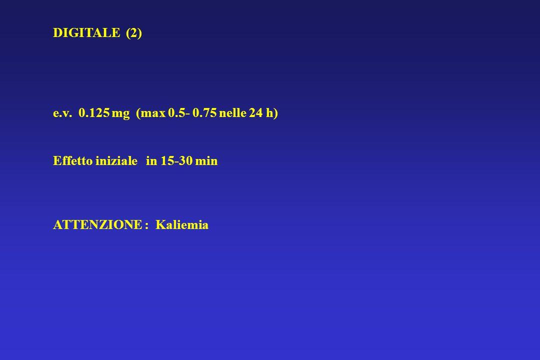 DIGITALE (2) e.v. 0.125 mg (max 0.5- 0.75 nelle 24 h) Effetto iniziale in 15-30 min ATTENZIONE : Kaliemia