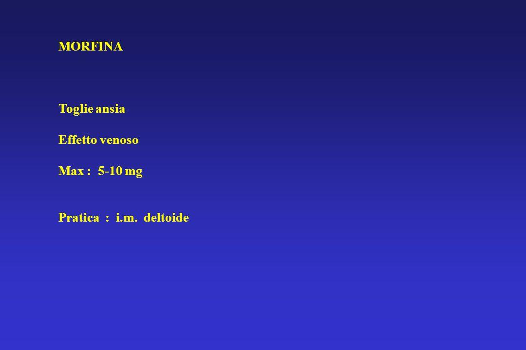 MORFINA Toglie ansia Effetto venoso Max : 5-10 mg Pratica : i.m. deltoide