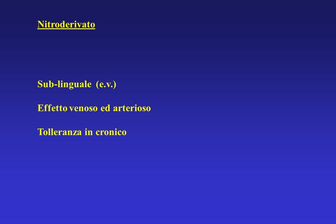 Nitroderivato Sub-linguale (e.v.) Effetto venoso ed arterioso Tolleranza in cronico