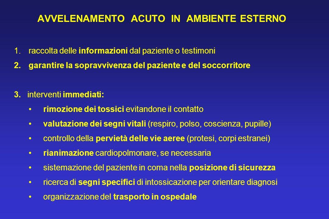 AVVELENAMENTO ACUTO IN AMBIENTE ESTERNO 1.raccolta delle informazioni dal paziente o testimoni 2.garantire la sopravvivenza del paziente e del soccorr