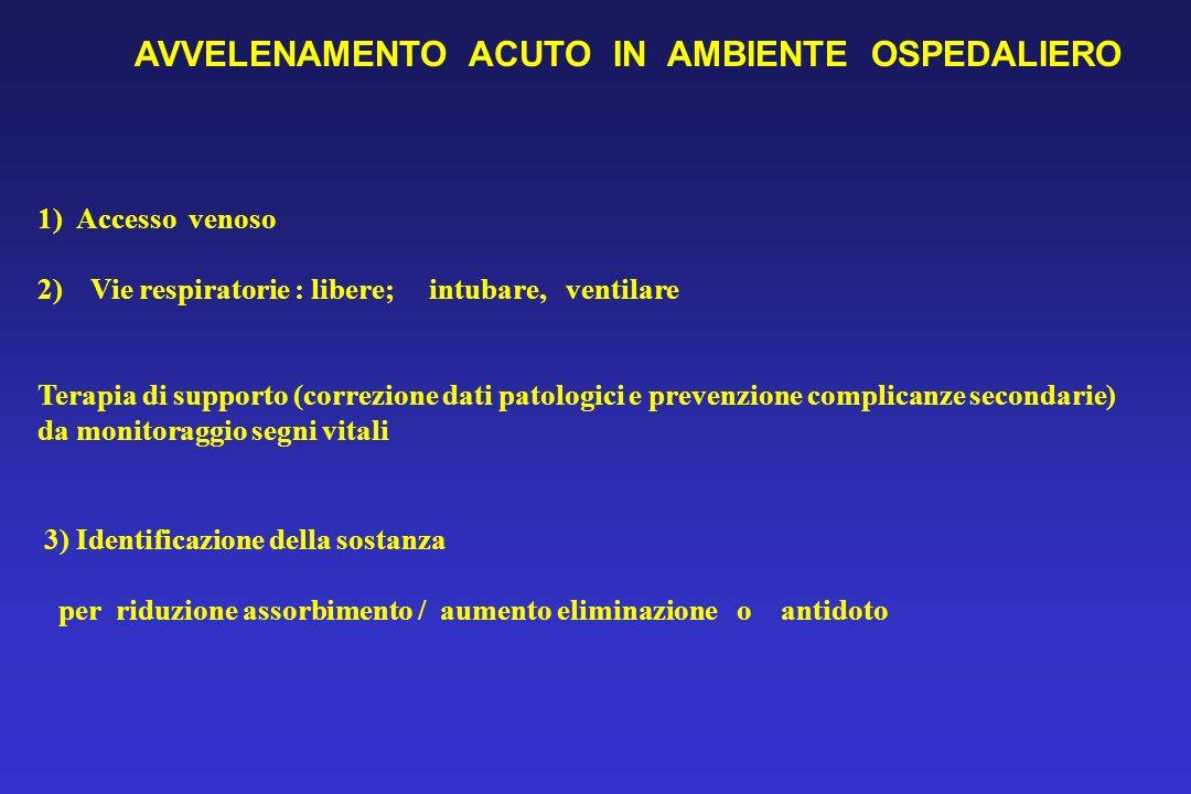 1) Accesso venoso 2) Vie respiratorie : libere; intubare, ventilare Terapia di supporto (correzione dati patologici e prevenzione complicanze secondar