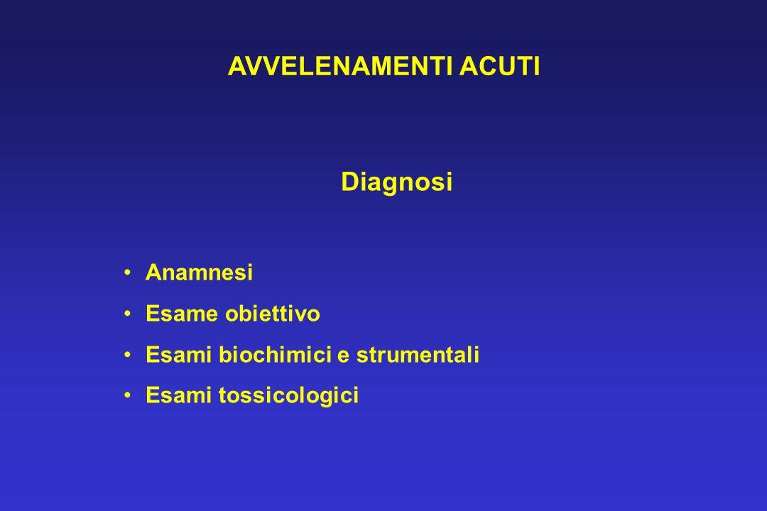 AVVELENAMENTI ACUTI Diagnosi Anamnesi Esame obiettivo Esami biochimici e strumentali Esami tossicologici