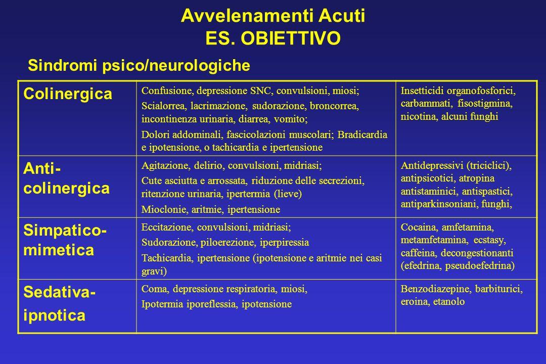 Avvelenamenti Acuti ES. OBIETTIVO Sindromi psico/neurologiche Colinergica Confusione, depressione SNC, convulsioni, miosi; Scialorrea, lacrimazione, s