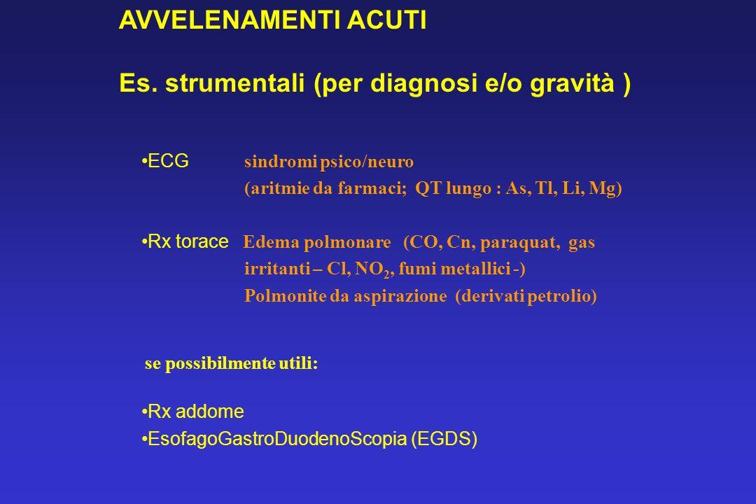 ECG sindromi psico/neuro (aritmie da farmaci; QT lungo : As, Tl, Li, Mg) Rx torace Edema polmonare (CO, Cn, paraquat, gas irritanti – Cl, NO 2, fumi m