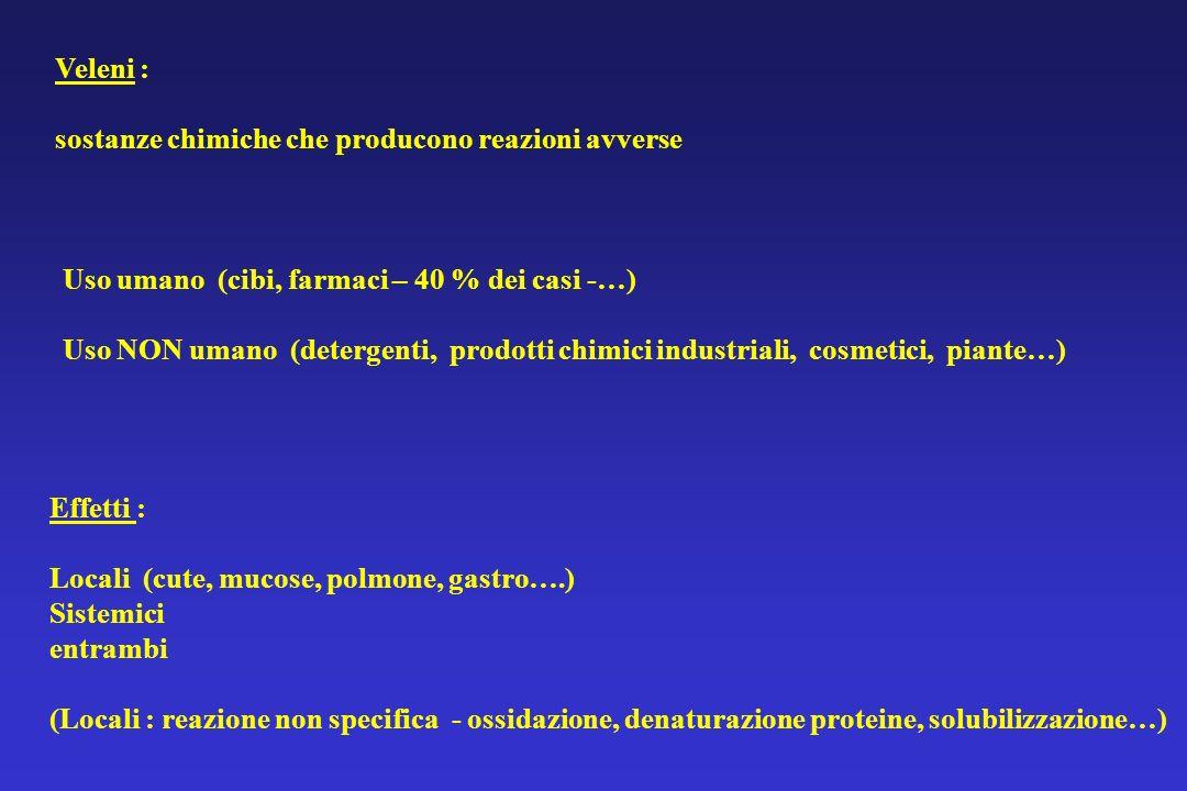 Veleni : sostanze chimiche che producono reazioni avverse Uso umano (cibi, farmaci – 40 % dei casi -…) Uso NON umano (detergenti, prodotti chimici ind