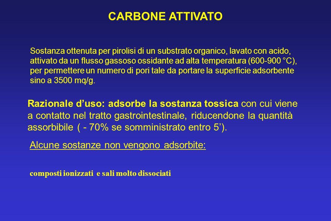 CARBONE ATTIVATO Sostanza ottenuta per pirolisi di un substrato organico, lavato con acido, attivato da un flusso gassoso ossidante ad alta temperatur