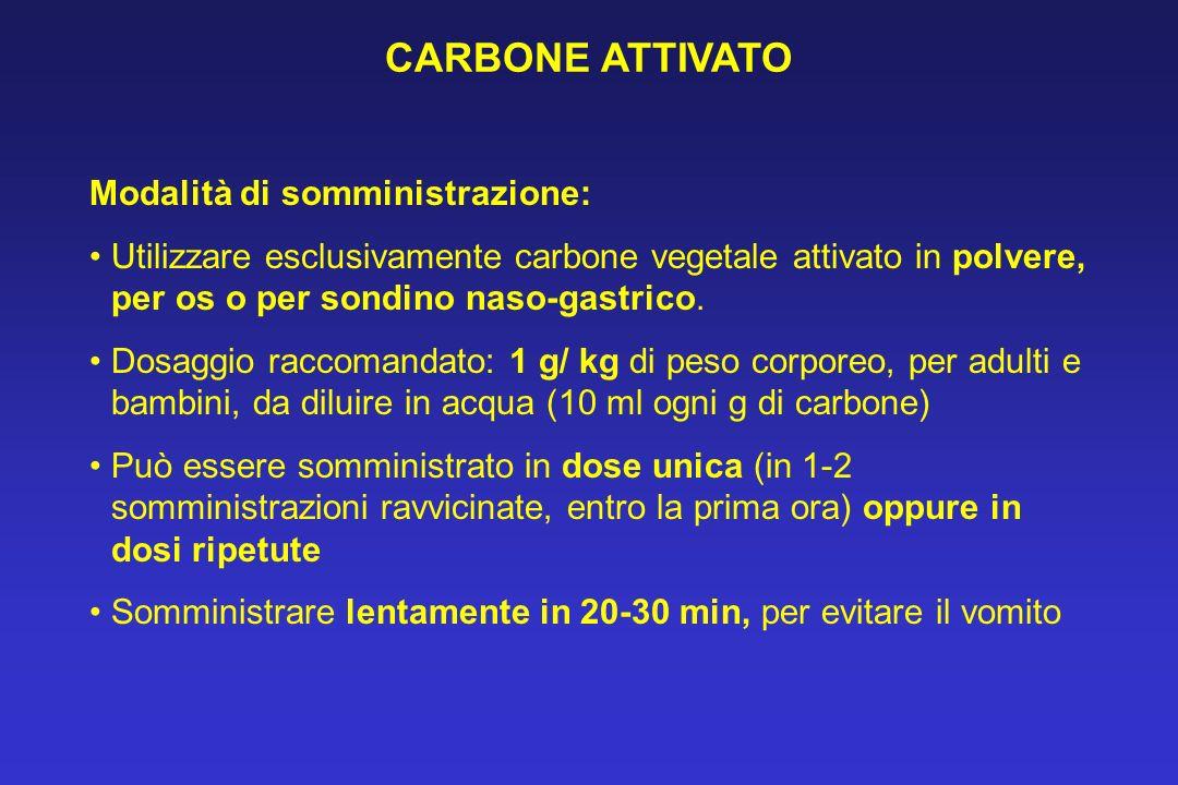 CARBONE ATTIVATO Modalità di somministrazione: Utilizzare esclusivamente carbone vegetale attivato in polvere, per os o per sondino naso-gastrico. Dos
