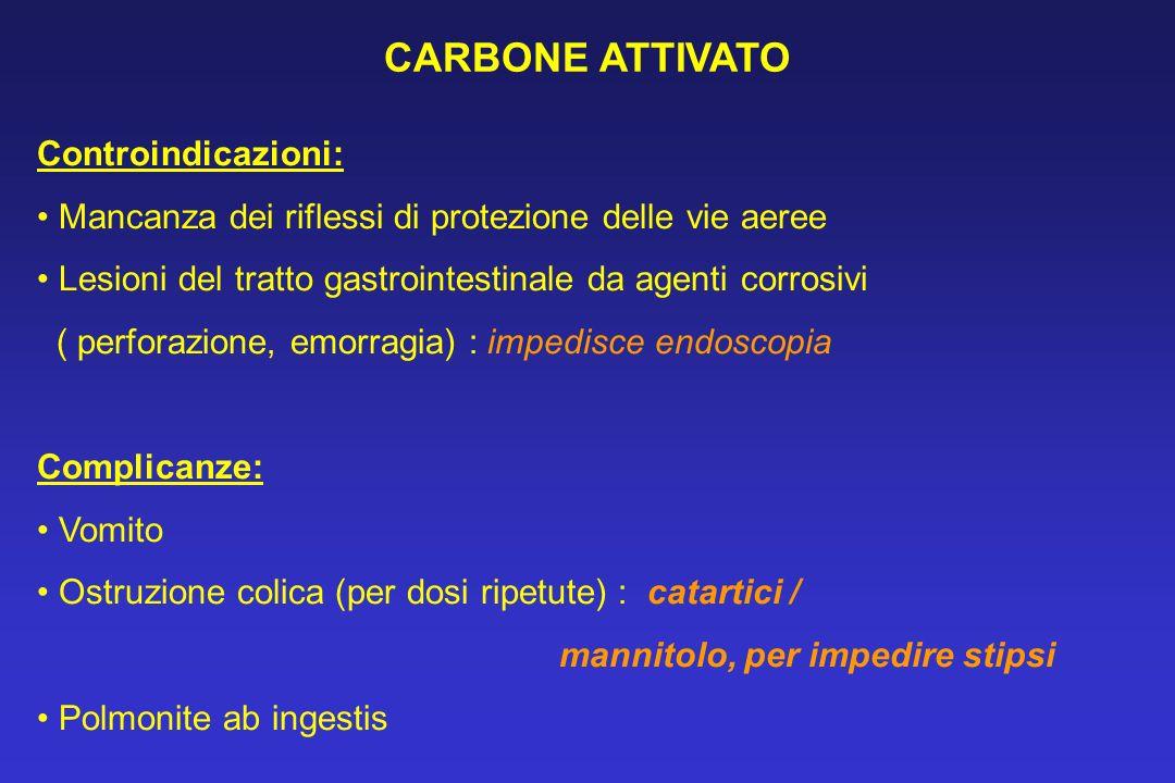 CARBONE ATTIVATO Controindicazioni: Mancanza dei riflessi di protezione delle vie aeree Lesioni del tratto gastrointestinale da agenti corrosivi ( per