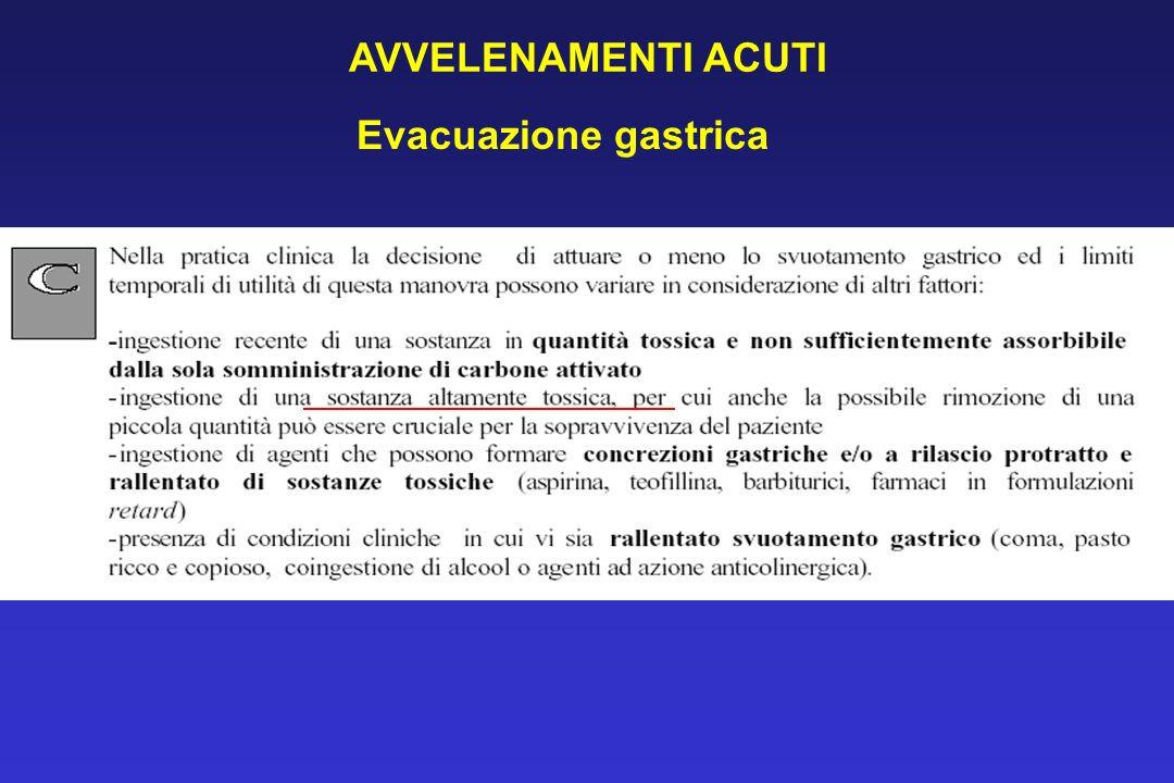 Evacuazione gastrica AVVELENAMENTI ACUTI