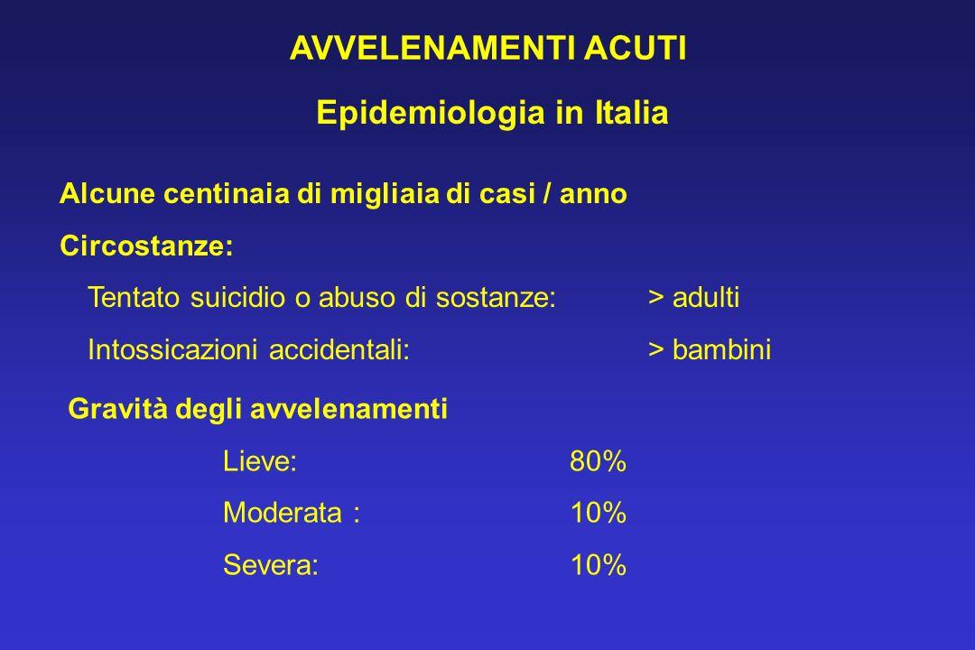 AVVELENAMENTI ACUTI Epidemiologia in Italia Alcune centinaia di migliaia di casi / anno Circostanze: Tentato suicidio o abuso di sostanze: > adulti In