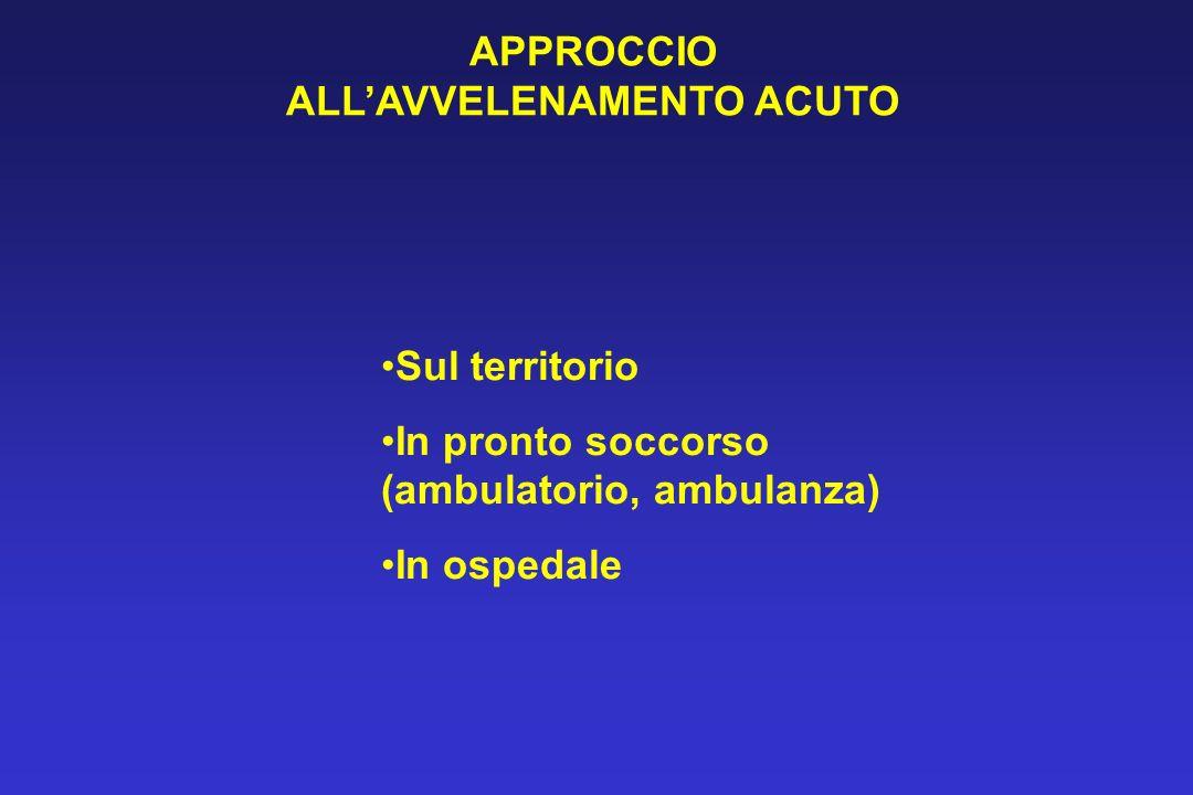 APPROCCIO ALLAVVELENAMENTO ACUTO Sul territorio In pronto soccorso (ambulatorio, ambulanza) In ospedale