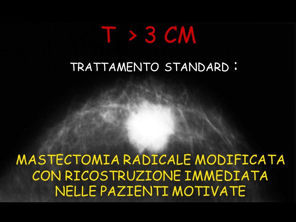 T > 3 CM TRATTAMENTO STANDARD : MASTECTOMIA RADICALE MODIFICATA CON RICOSTRUZIONE IMMEDIATA NELLE PAZIENTI MOTIVATE