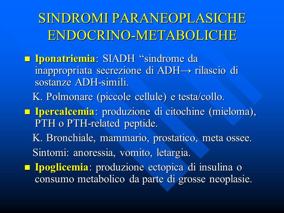 SINDROMI PARANEOPLASICHE ENDOCRINO-METABOLICHE Iponatriemia: SIADH sindrome da inappropriata secrezione di ADH rilascio di sostanze ADH-simili. Iponat