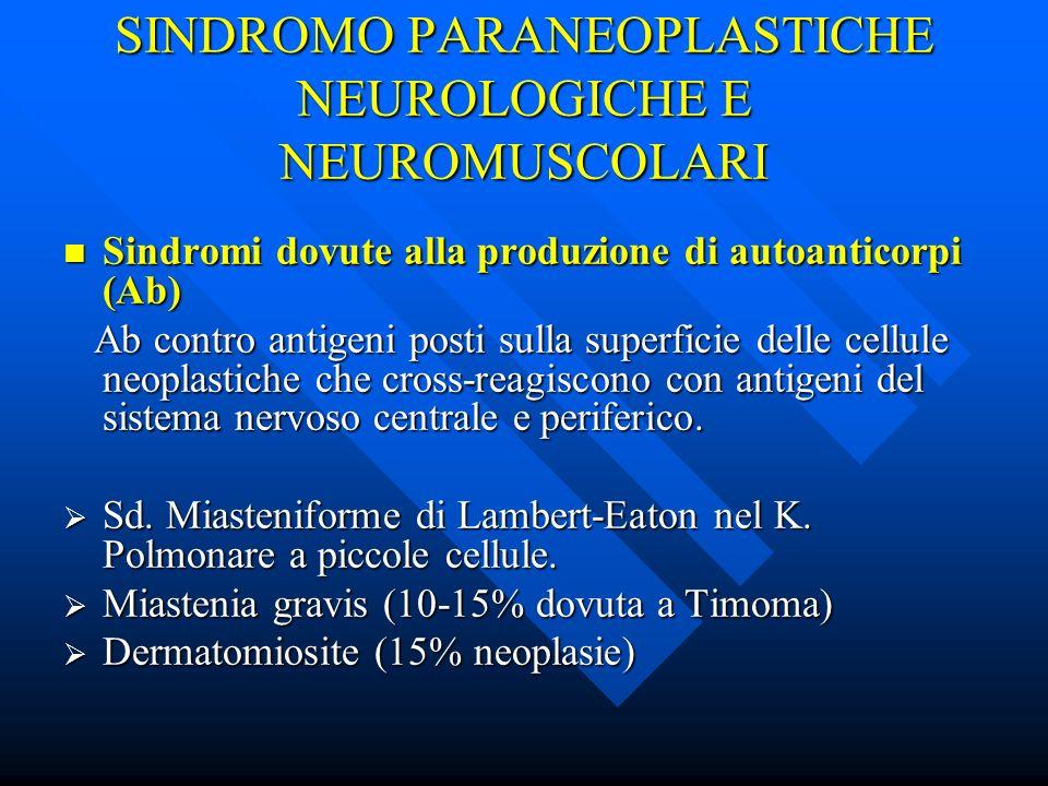 SINDROMO PARANEOPLASTICHE NEUROLOGICHE E NEUROMUSCOLARI Sindromi dovute alla produzione di autoanticorpi (Ab) Sindromi dovute alla produzione di autoa
