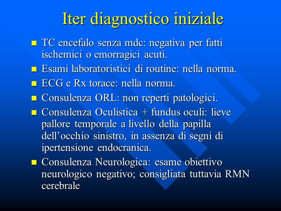 Iter diagnostico iniziale TC encefalo senza mdc: negativa per fatti ischemici o emorragici acuti. TC encefalo senza mdc: negativa per fatti ischemici