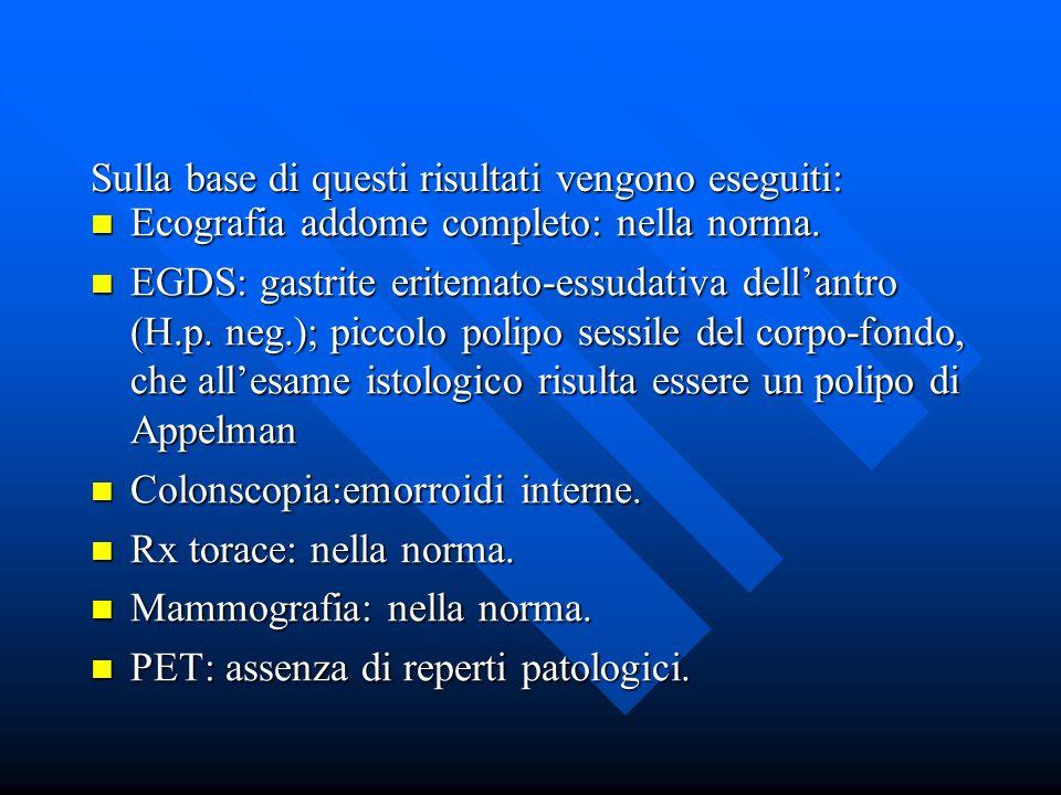 Ecografia addome completo: nella norma. Ecografia addome completo: nella norma. EGDS: gastrite eritemato-essudativa dellantro (H.p. neg.); piccolo pol