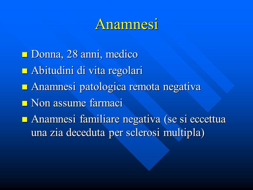 Anamnesi Donna, 28 anni, medico Donna, 28 anni, medico Abitudini di vita regolari Abitudini di vita regolari Anamnesi patologica remota negativa Anamn