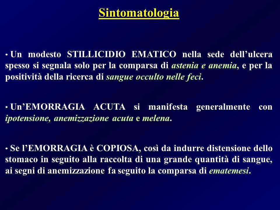Sintomatologia Un modesto STILLICIDIO EMATICO nella sede dellulcera spesso si segnala solo per la comparsa di astenia e anemia, e per la positività de