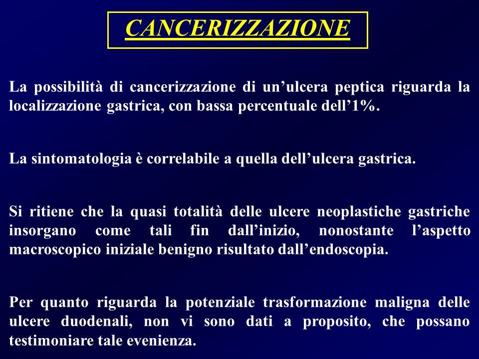 CANCERIZZAZIONE La possibilità di cancerizzazione di unulcera peptica riguarda la localizzazione gastrica, con bassa percentuale dell1%. La sintomatol