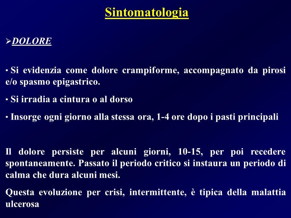 Sintomatologia DOLORE Si evidenzia come dolore crampiforme, accompagnato da pirosi e/o spasmo epigastrico. Si irradia a cintura o al dorso Insorge ogn