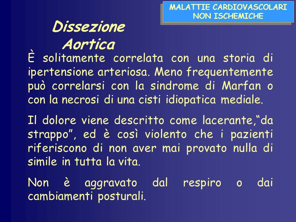 MALATTIE CARDIOVASCOLARI NON ISCHEMICHE MALATTIE CARDIOVASCOLARI NON ISCHEMICHE Dissezione Aortica È solitamente correlata con una storia di ipertensione arteriosa.