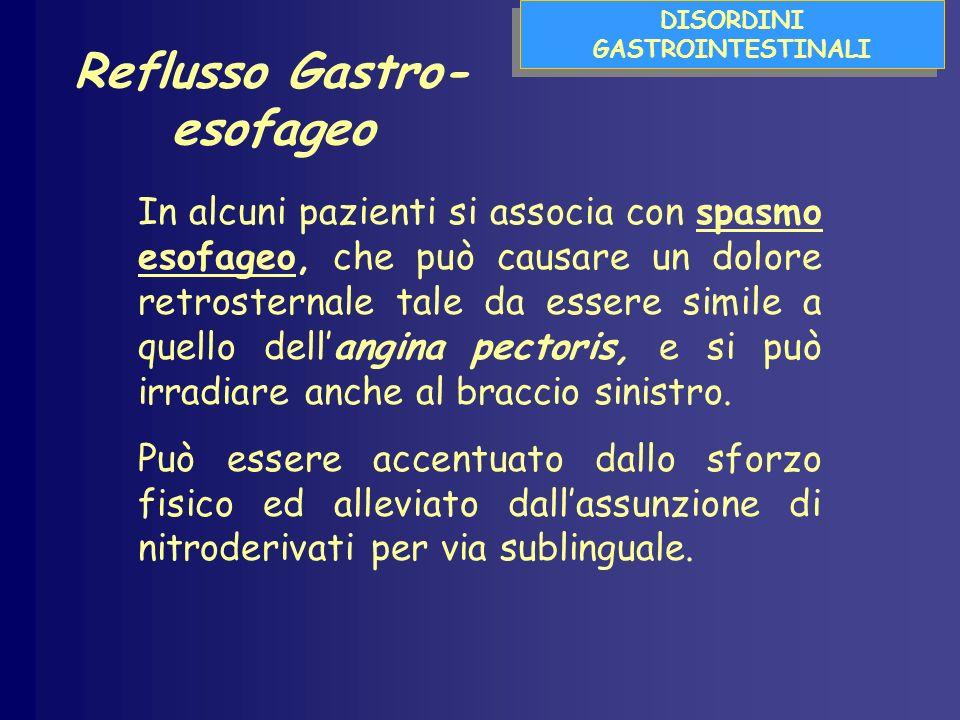 DISORDINI GASTROINTESTINALI In alcuni pazienti si associa con spasmo esofageo, che può causare un dolore retrosternale tale da essere simile a quello