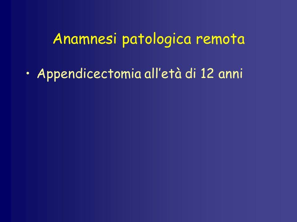 Anamnesi patologica remota Appendicectomia alletà di 12 anni