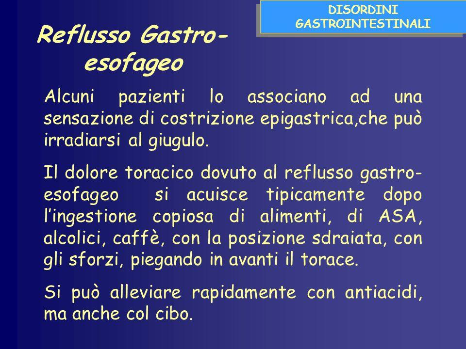 DISORDINI GASTROINTESTINALI Alcuni pazienti lo associano ad una sensazione di costrizione epigastrica,che può irradiarsi al giugulo.