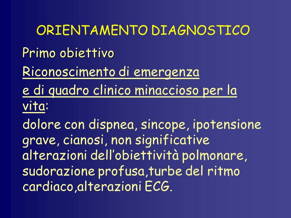 ORIENTAMENTO DIAGNOSTICO Primo obiettivo Riconoscimento di emergenza e di quadro clinico minaccioso per la vita: dolore con dispnea, sincope, ipotensi