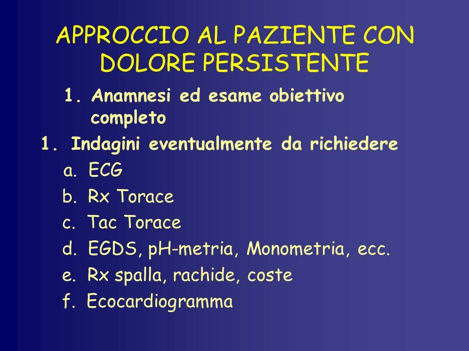 APPROCCIO AL PAZIENTE CON DOLORE PERSISTENTE 1.Anamnesi ed esame obiettivo completo 1.Indagini eventualmente da richiedere a. ECG b. Rx Torace c. Tac