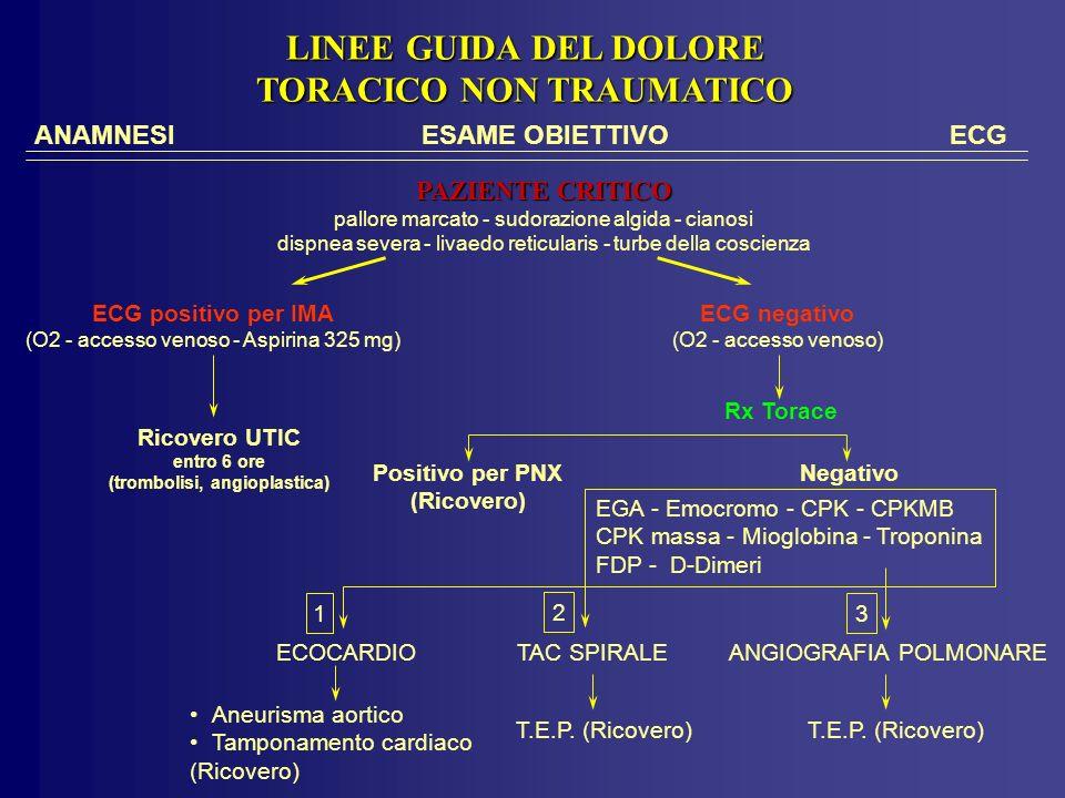 ANAMNESIESAME OBIETTIVO ECG PAZIENTE CRITICO pallore marcato - sudorazione algida - cianosi dispnea severa - livaedo reticularis - turbe della coscienza ECG positivo per IMA (O2 - accesso venoso - Aspirina 325 mg) Ricovero UTIC entro 6 ore (trombolisi, angioplastica) ECG negativo (O2 - accesso venoso) Positivo per PNX (Ricovero) Rx Torace Negativo LINEE GUIDA DEL DOLORE TORACICO NON TRAUMATICO ECOCARDIOTAC SPIRALEANGIOGRAFIA POLMONARE T.E.P.