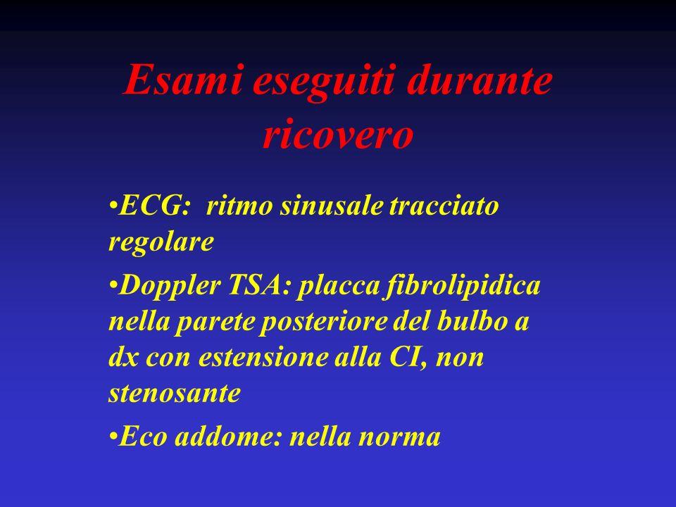 Esami eseguiti durante ricovero ECG: ritmo sinusale tracciato regolare Doppler TSA: placca fibrolipidica nella parete posteriore del bulbo a dx con es